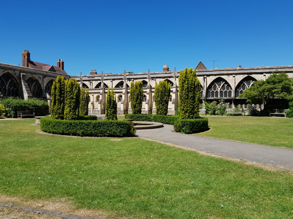 Cloister gardens at Gloucester Cathedral