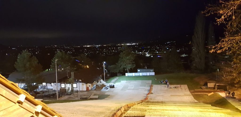 Slopes from the top at night