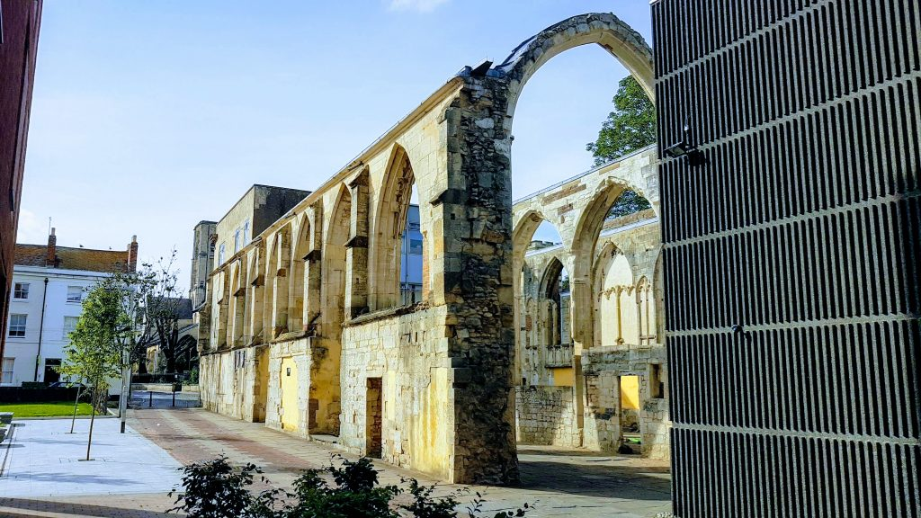 Greyfriars monastery ruins in Gloucester