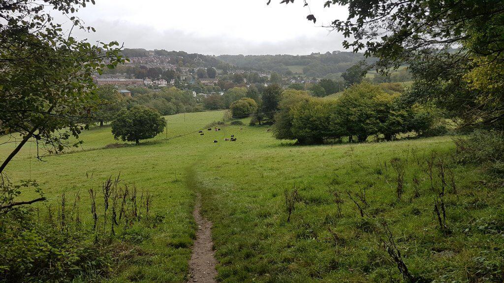 Downhill through farmland